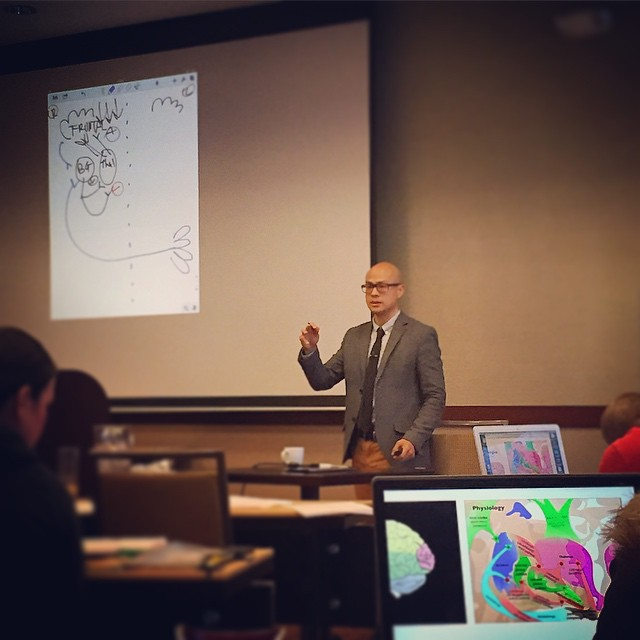 Wrapping up another weekend neurology seminar in Portland: teaching docs the intricacies of the basal ganglia through my fine art. #KOBA #chiropractic #neurology #nutrition #berkeley #ontheroad #portland #teaching #functionalneurology #CarrickInstitute #brainhealth #postdoc #integrativehealth #iloveteaching #DrTitusChiu