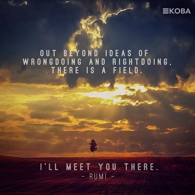 Out beyond ideas of wrongdoing and rightdoing, there is a field. I'll meet you there. - Rumi - #KOBA #chiropractic #neurology #nutrition #Berkeley #thefield #inspiration #love #hope #acceptance #healing #holistichealth #wellness #vitalism #Rumi #KOBAcare