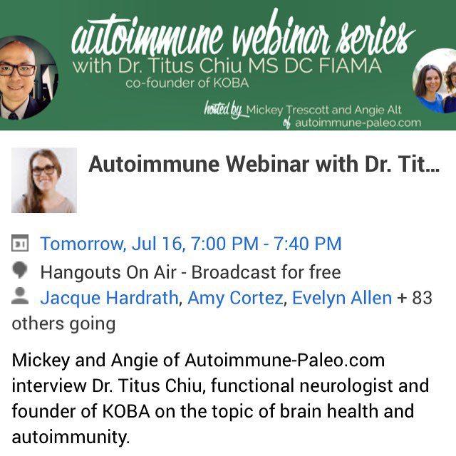 Excited for tomorrow's live webinar with @autoimmunepaleo founders Mickey and Angie! Join us! It's FREE  Find it at http://bit.do/KOBAwebinar! CLICKABLE LINK IN PROFILE  #KOBA #chiropractic #neurology #nutrition #Berkeley #paleo #aip #event #autoimmune #brainhealth #guthealth #conversation #webinar #holistichealth #glutenfree #dairyfree #grainfree #DrTitusChiu #DrNatashaFallahi #TheMetabolicAdjustment @mickeytrescott