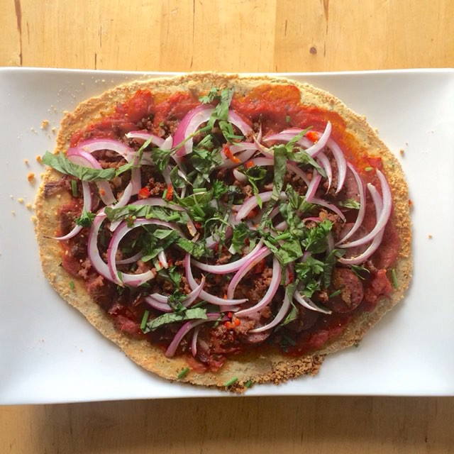 Back from #AdobeMax2015 in LA, feeling creatively inspired and making #paleopizza! Recipe at KOBAfood.com #KOBAchiropractic #Berkeley #nutrition #homemade #paleo #meat #pizza #fromscratch #nutcrust #ketogenic #vitamix #glutenfree #grainfree #dairyfree #KOBAfood