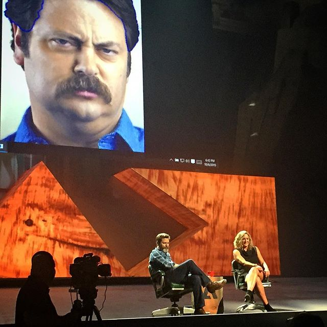 #MAXSneaks with Ron Swanson. Jaw-dropping technology demo. If you're a design nerd, check out some of these: #projectfaces (typography) #deepfont (typography) #louper (image search) #byebyephotobomb (photo editing) #maestromotion (motion graphics) #projectboxcar (audio video editing) #perspectivedollhouse (3d drawing) #extractshading (photo editing) #3dportraits (3d modeling - see photo) #monumentmode (photo editing) #designwithdata (UX design) #projectcomet (UX design) ------------------ #KOBAchiropractic #Berkeley #LosAngeles #creativityconference #AdobeMax #AdobeMax2015 #entrepreneurship #graphicdesign #Adobe #software #typography #motiongraphics #photography #ronswanson #nickofferman