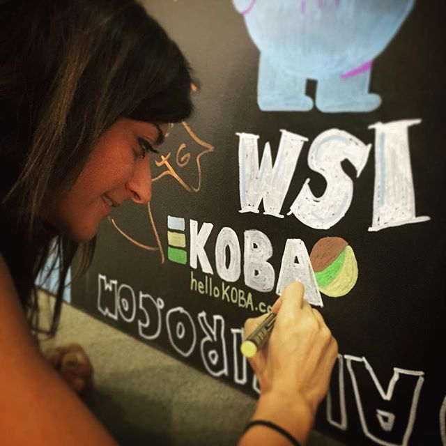 Making our mark on the chalk wall. #KOBAchiropractic #Berkeley #LosAngeles #creativityconference #helloKOBA #AdobeMax #AdobeMax2015