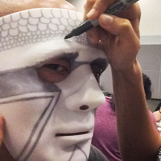 Not everyday we get to draw on each other's faces with a sharpie. Unleash Your Creative Weirdo with @Rich_Tu #KOBAchiropractic #Berkeley #ontheroad #unleashyourweirdo #AdobeMax2015 #AdobeMax #workshop #art #mask #sharpie #creativityconference #entrepreneurship