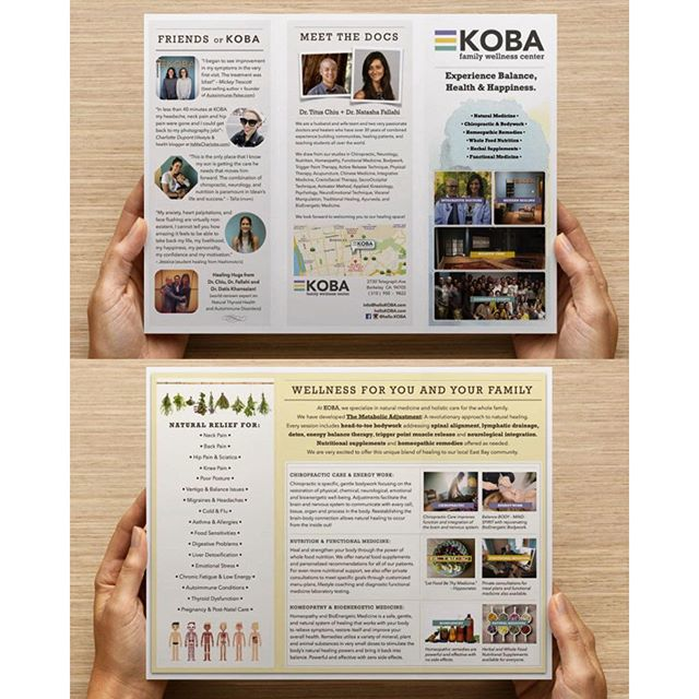 It's been a design filled holiday for KOBA. Our new brochures arrived just in time for the new year! #KOBAchiropractic #Berkeley #chiropractic #neurology #nutrition #homeopathy #bioenergeticmedicine #functionalmedicine #wellness #holistichealth #naturalmedicine #bodywork #energywork #energy #paleo #aip #autoimmune #familywellness #trifold #brochure #redesign #logotype #purple #colorpalette #graphicdesign #design #diy