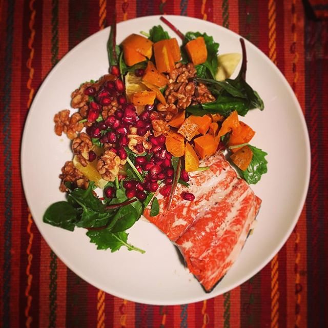 Winter Dinner: Wild caught salmon, sweet potato, baby kale, citrus, pomegranate and maple candied walnuts. #KOBAchiropractic #Berkeley #chiropractic #nutrition #neurology #homeopathy #bioenergeticmedicine #foodasmedicine #paleo #aip #organic #healthy #glutenfree #grainfree #dairyfree #highfat #lowcarb #keto #ketosis #ketogenic #lard #omega3 #wildcaught #salmon #fish #pomegranate #holistichealth #wellness #KOBAfood