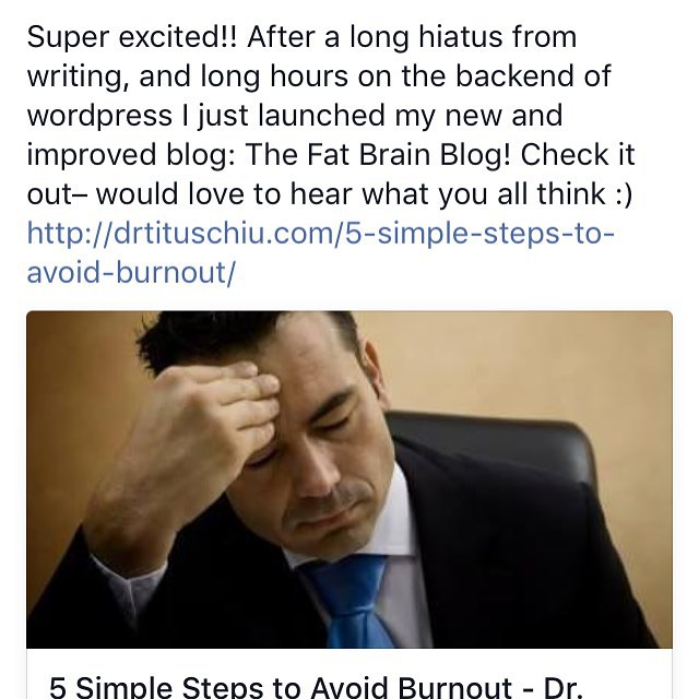 Yes!!! New blog up and fully operational! Can't wait to get writing again after so many years :) #drtituschiu #hellokoba #nutrition #stressrelief #fatbrainblog #DIY #ccfneuro #brainpower #wellness #lifestyle