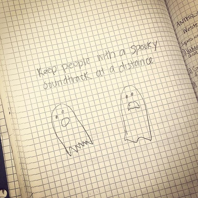 Dr. Mario Martinez says: Keep people with a spooky soundtrack at a distance.  I found this silly reminder scribbled in the sidebar of 58 dense pages of very serious seminar notes about psycho-anthro-endocrin-neuro-immunology. (That is: the link between our thoughts + emotions + culture + stories + hormones + mind + brain + immune system). AKA Biocognition.  Dr. Martinez authored The Mind-Body Code which has profoundly impacted my personal healing. My favorite part about his work is his ability to create systems and applied formulas out of the incredibly complex intangibles of life such as Archetypal Wounds, Addictions, Types of Self-Esteem, Wisdom of Centenarians. And of course, people with spooky soundtracks.  #wisdom #centenarians #ghosts #spooky #PNI #psychoneuroimmunology #mindbody #mindbodycode #drmariomartinez #biocognition #DrNatashaFallahi #DrNatashaF @dr.mario_martinez