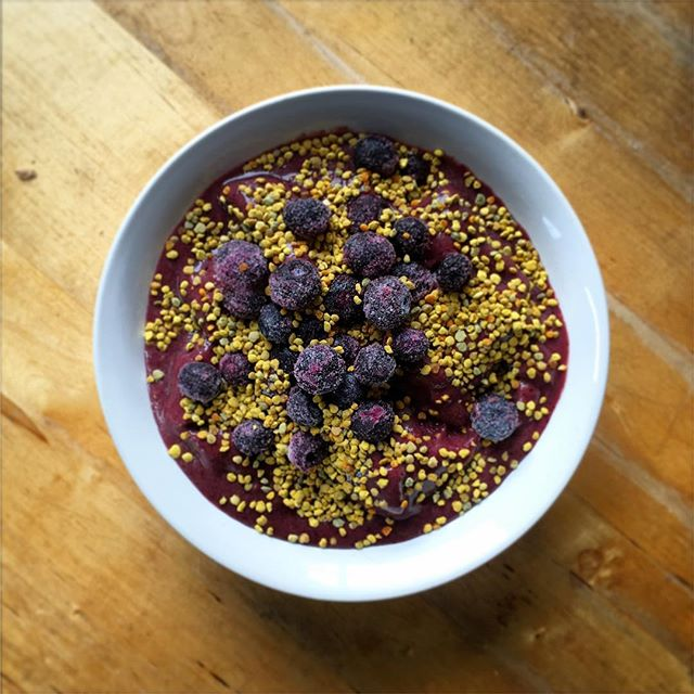My daily crave: Homemade Açaí Bowl. This one is a frozen base of Açaí berry, banana, strawberry and blueberries. Blended in the Vitamix and topped with frozen blueberries, bee pollen and drizzled with raw saffron honey. Sometimes I add cacao nibs, nut milk, paleo granola, shredded coconut, sliced fruit or almond butter. The possibilities are endless. The Açaí berry is a powerful antioxidant which also helps stabilize blood sugar and insulin levels. Bee pollen is a nutrient dense natural wonder packed with vitamins, amino acids and protein. #acai #acaibowl #berries #antioxidants #saffron #beepollen #superfood #blueberry #honey #raw #paleo #aip #glutenfree #dairyfree #natural #holistichealth #detox #foodstagram #vitamix #smoothie #sambazon #raspberry #autoimmune #autoimmuneprotocol #nutrition #homeopathy #naturalmedicine #chiropractic #neurology #DrNatashaF @sambazon @vitamix