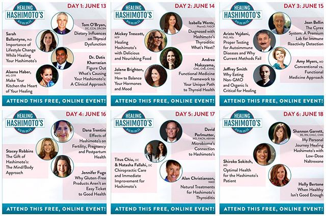 Woah! We were asked to participate in this international online summit (can you find our picture?) along with other phenomenal healthcare providers such as Dr. David Perlmutter (@davidperlmutter), Dr. Datis Kharrazian, Dr. Amy Myers (@amymyersmd), Dr. Izabella Wentz (@izabellawentzpharmd), Dr. Jolene Brighten (@drjolenebrighten), Dr. Sarah Ballantyne (@thepaleomom) and Mickey Trescott (@mickeytrescott of @autoimmunepaleo ) And now it's available to you – for FREE! Today is the last day to sign up for free events starting tomorrow! Register with link in profile! @drtituschiu @drnatashaf #KOBA #chiropractic #neurology #nutrition #Berkeley #paleo #aip #event #hashimotos #thyroid #thyroidhealth #autoimmune #autoimmunethyroid #naturalmedicine #holistichealth #functionalneurology #brainhealth #guthealth #conversation #webinar #holistichealth #glutenfree #dairyfree #grainfree #DrTitusChiu #DrNatashaF #DrNatashaFallahi #TheMetabolicAdjustment