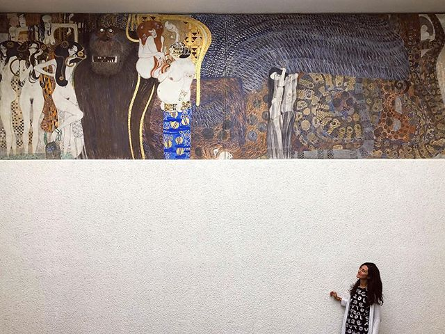 "What's the most breathtaking thing you've ever seen??? . Mine was Viennese Modernist Art during a whirlwind anniversary week with @drtituschiu this June. We flew to Vienna, Austria solely for the purpose of looking at all the Klimt and Schiele works up close. This is one panel of Klimt's Beethoven Frieze in The Secession Building. I've stared at images of these works in books for over a decade, but the textured materials, subtle layers, intricate details and GOLD GOLD GOLD can only be truly appreciated in person. . Did you know Vienna was just named ""the most livable city in the world""?! I'm not at all surprised. It was a breathtaking city filled with magic, inspiration and culture all while being calm, welcoming and modest. . When was the last time you had your breath taken away by beauty? . . . . . . #art #painting #vienna #austria #travel #secession #beethovenfrieze #beethoven #viennesemodernism #klimt #schiele #design #adventure #persian #chinese #paleo #autoimmune #aip #glutenfree #dairyfree #gfdf #healing #chiropractic #nutrition #homeopathy #mindbody #DrTitusChiu #DrNatashaFallahi #DrNatashaF"